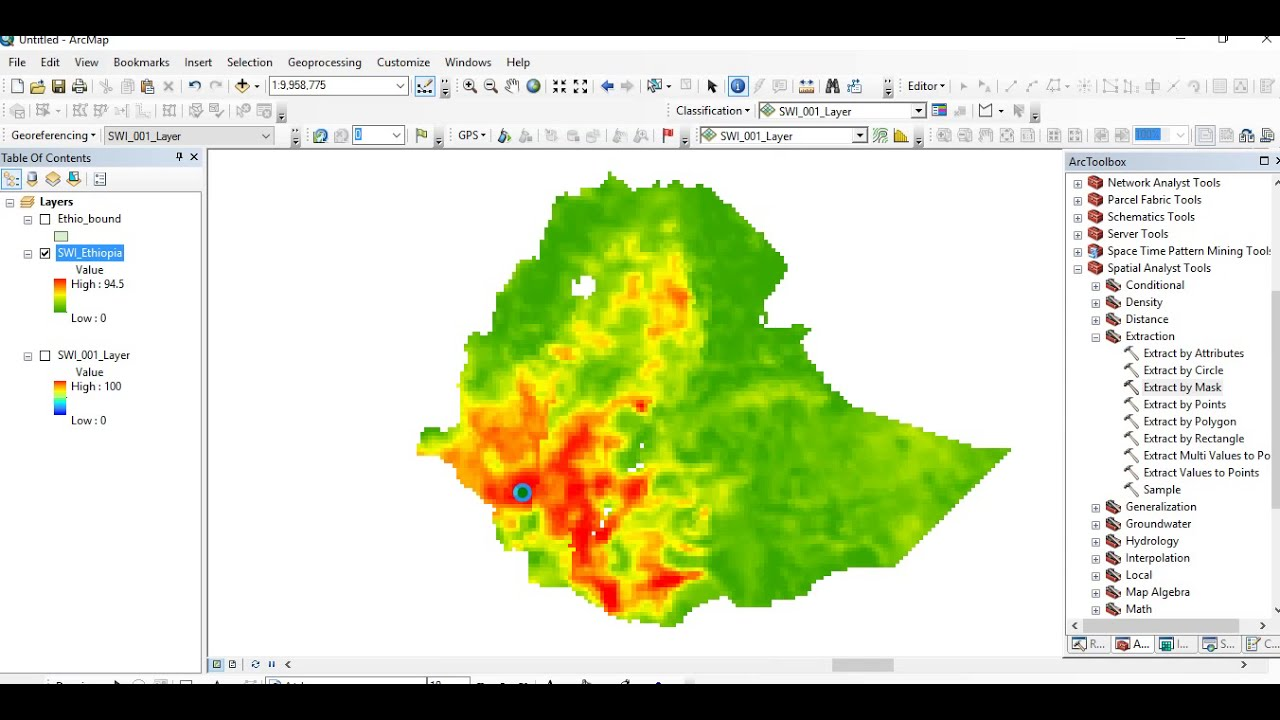 How to Make NetCDF Raster Layer and Extract Region of Interest in ArcMap
