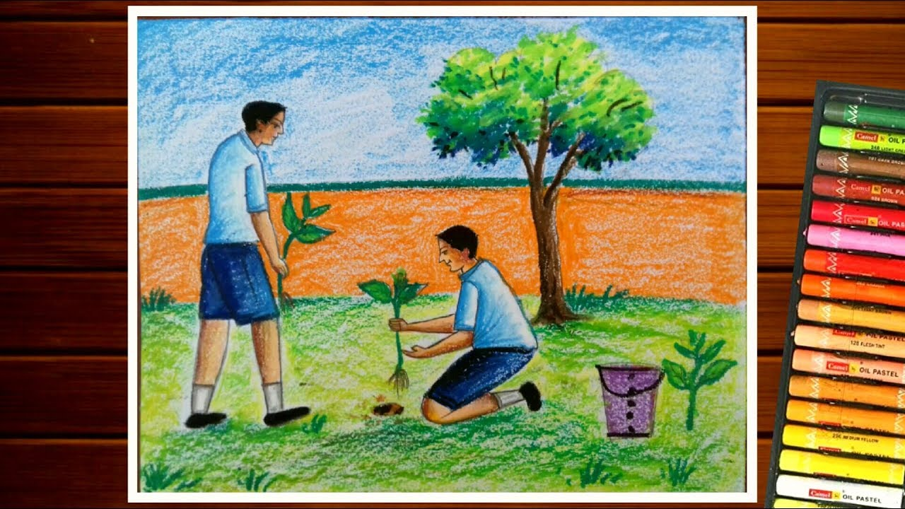 TREE PLANTATION DRAWING||GREEN INDIA DRAWING COMPETITION ...