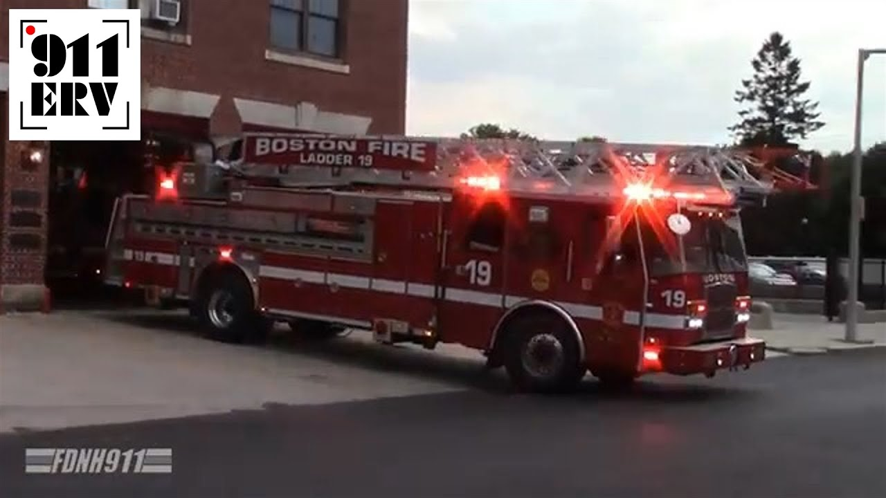 Boston Fire Department Ladder 16 and Engine 53 Responding