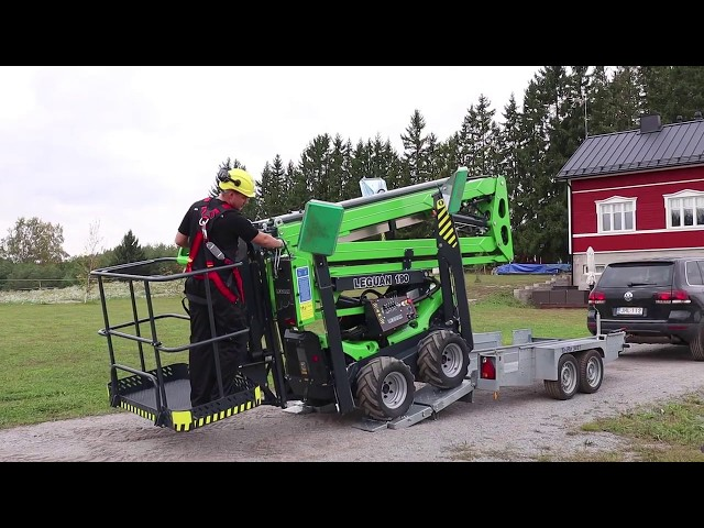 Leguan Lifts in action: Gutter cleaning with Leguan 190 - Easy transportation with Leguan trailer