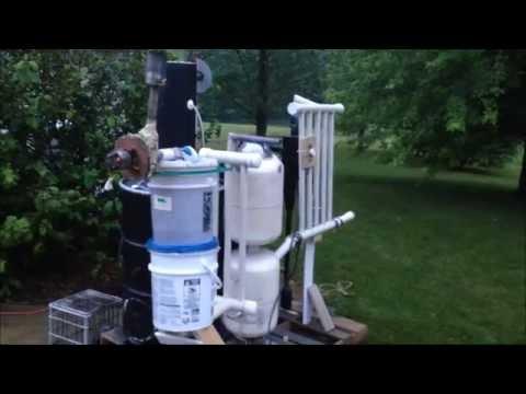 Wood Gasifier Build for Dummies 9, Burn Test on Sticks, Leaves, Bark from Stream