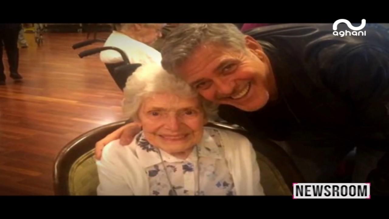 جورج كلوني يحقق حلم السيدة العجوز في عيد ميلادها!
