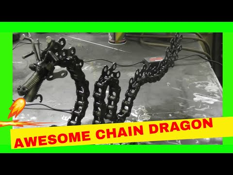 Scrap Metal Art Chinese Chain Dragon