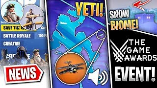 Fortnite News | Yeti & Santa Skin, Snow Biome, Airplanes, Game Awards Event, Creative Mode & More!