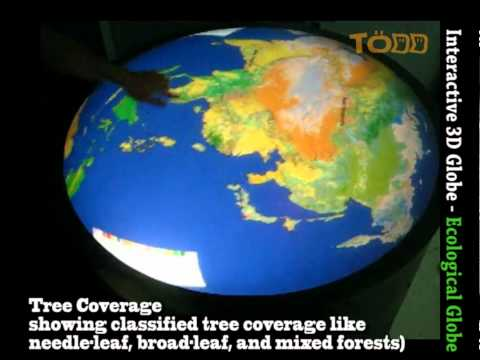 Multi-touch Round Table - Interactive Virtual 3D Globe - Eco Earth