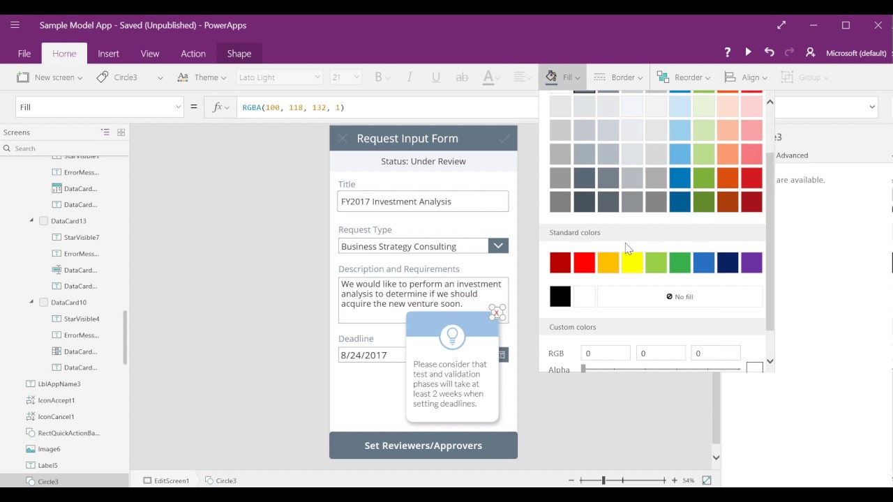How to create a pop-up message in PowerApps