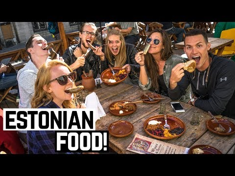 ESTONIAN FOOD! - Bear & Boar Sausage + Elk Pies and Marzipan! (Americans Try Estonian Food)