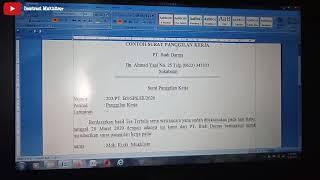 Contoh Surat Panggilan Kerja 02