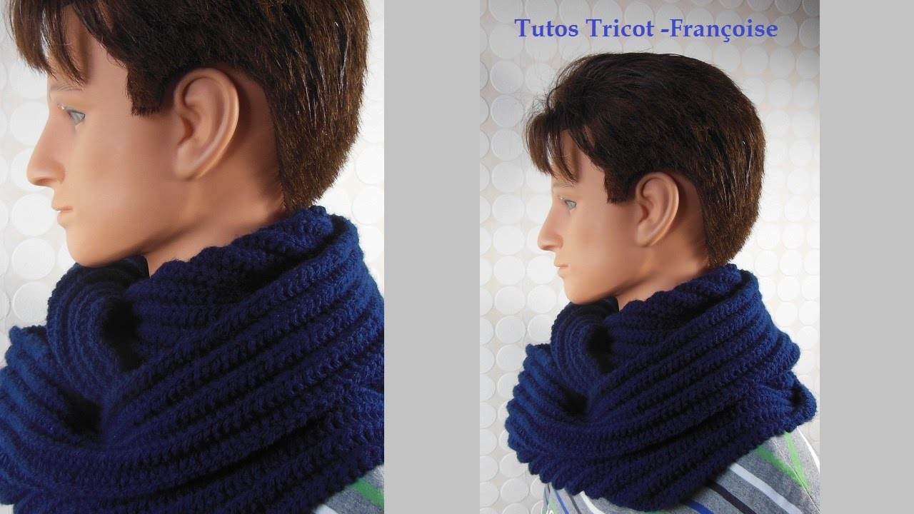 tuto tricot echarpe tube homme mailles endroit snood homme scarf knit for men youtube. Black Bedroom Furniture Sets. Home Design Ideas