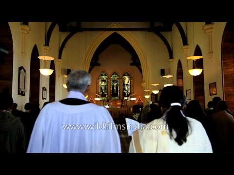 Catholic priest reads out the word of God before Holy Communion - Landour