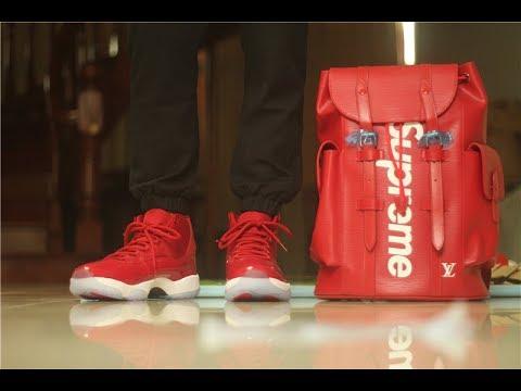 size 40 d8566 c8b27 2017 December Air Jordan 11 Chicago Gym Red&LV Supreme Bag