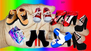 HOW TO MAKE  DIY ~7 DOLL SHOES ( SNEAKERS,🩰 SHOES,🥿SLIPPERS 👡HIGH HEELS👠 ETC)