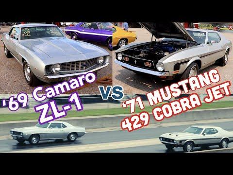 1969 Camaro ZL-1 427 vs 1971 Mustang 429 Cobra Jet - Pure Stock Drag Race - C&Z QUICK CLIP
