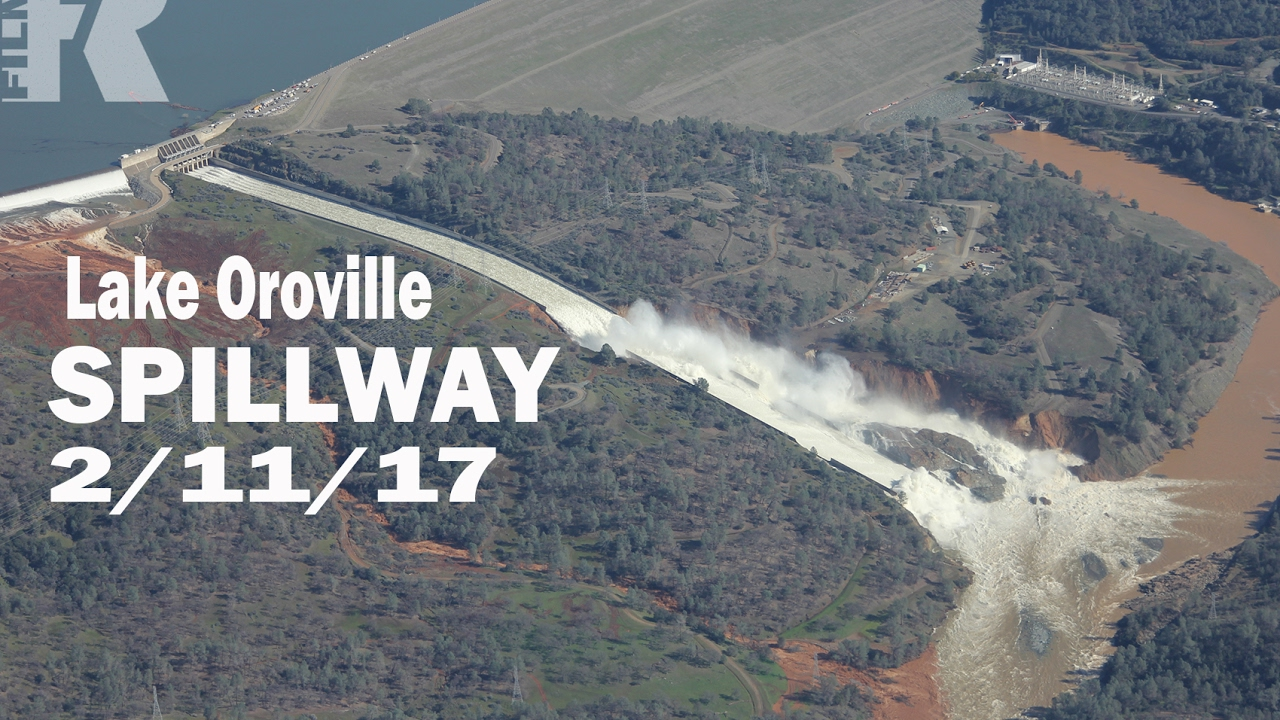 Lake Oroville dam emergency spillway 1:30PM 2/11/17