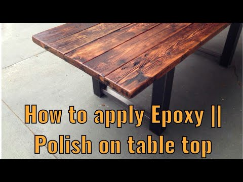 DIY HOW TO APPLY EPOXY ON TABLE TOP BY PAINT DEMONSTRATION