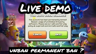 we can't unban any permanent ban in clash of clans game | do not break any fair play policy