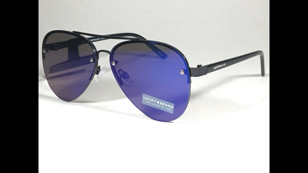 bbe9e8341185e New Lucky Brand Rimless Aviator Pilot Sunglasses Black Blue Mirror Lens  Avalon