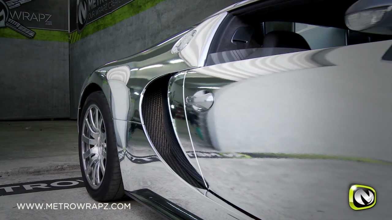 Flo Rida's Chrome Bugatti Veyron Wrap by Metro Wrapz!