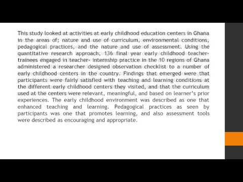 Activities at Early Childhood Centers in Ghana Observations of Early Childhood Teacher Trainees AJET