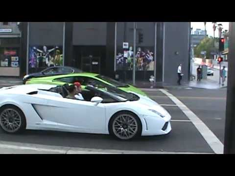 Two Lambo's in Hollywood take off from light