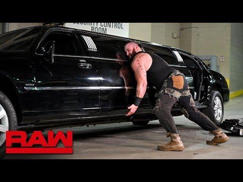 Furious Braun Strowman pushes over Mr. McMahon's limousine: