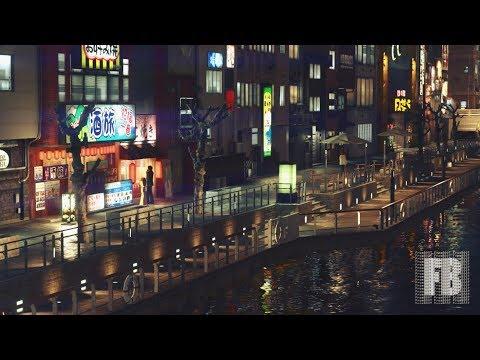 [Virtual Tourism] Yakuza Kiwami 2 - Osaka, riverside (walking in 1st-person view, night time)