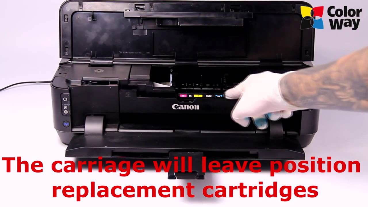 Video manuals for Installation of refillable cartridges ColorWay for Canon  IP7240