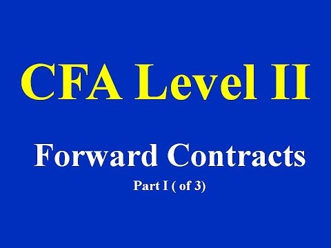 CFA Level II- Forward Contracts-  Part I ( of 3)