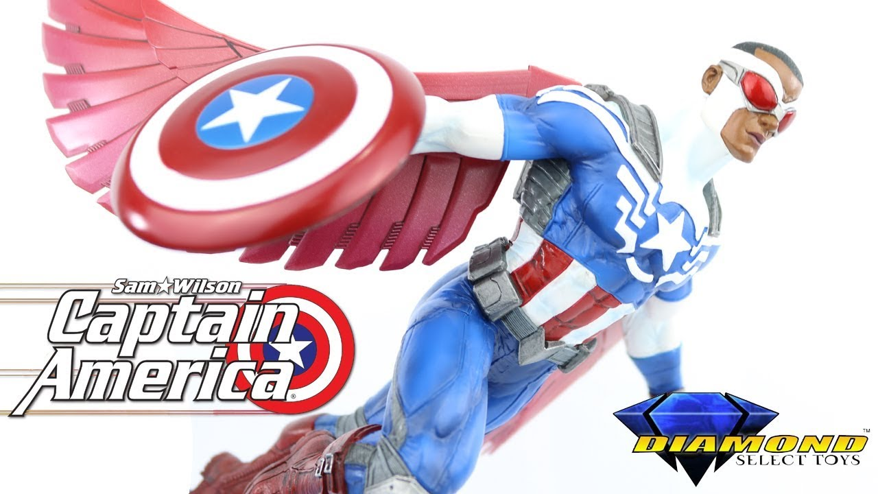 ab4d4b39777 MArvel Gallery Captain America Sam Wilson Unboxing and review - Diamond  Select Toys - Falcon