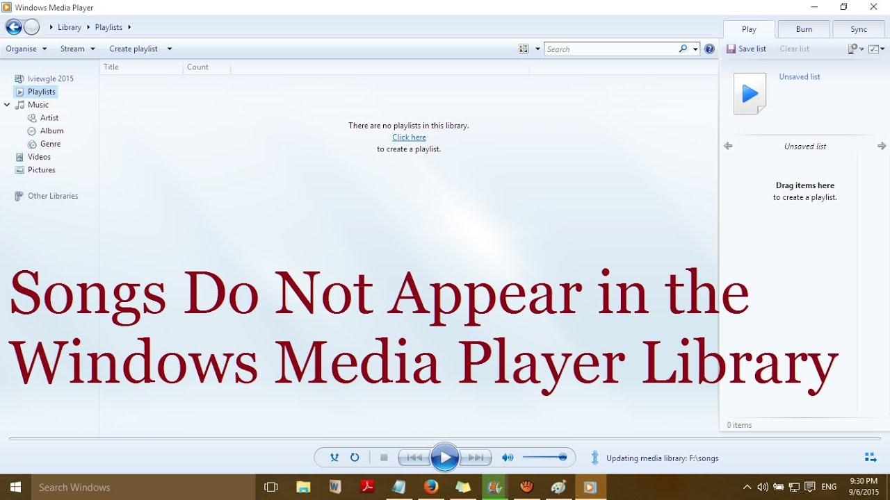 how to make windows media player video visible