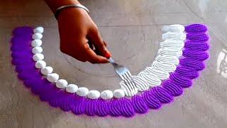 Fork से बनाये रंगोली डिज़ाइन  || कांटा की मदद से बनाये आसान रंगोली || Easy Diwali Rangoli design
