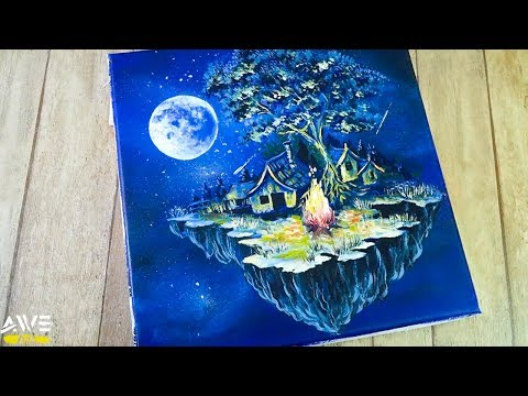 Easy Acrylic Painting / How to draw beautiful Moonlight night sky landscape