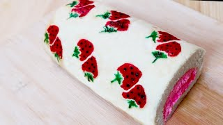 رولت خامه ای با طرح توت فرنگی strawberry design roll cake (swiss roll)