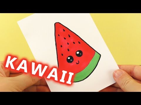 WASSERMELONE DIY KAWAII zeichnen | süße WATERMELON selber machen - Malen für Kinder