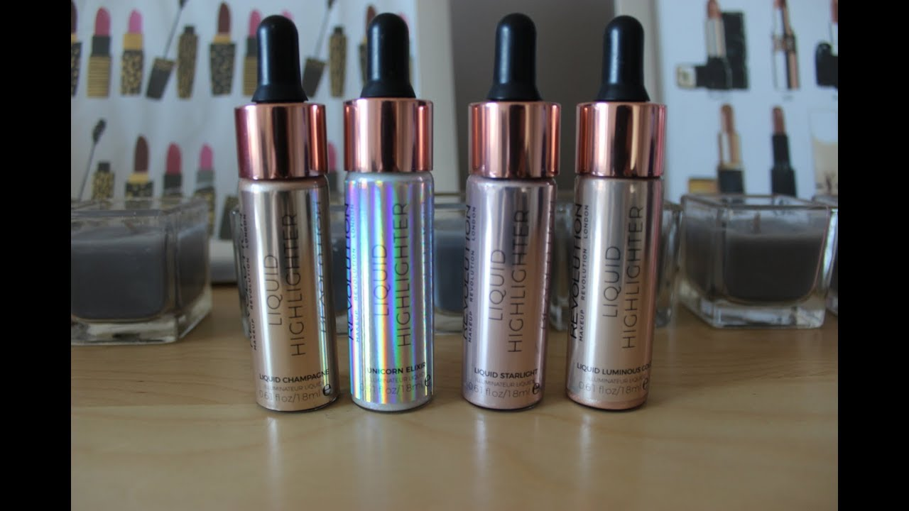 Makeup revolution liquid highlighter swatches