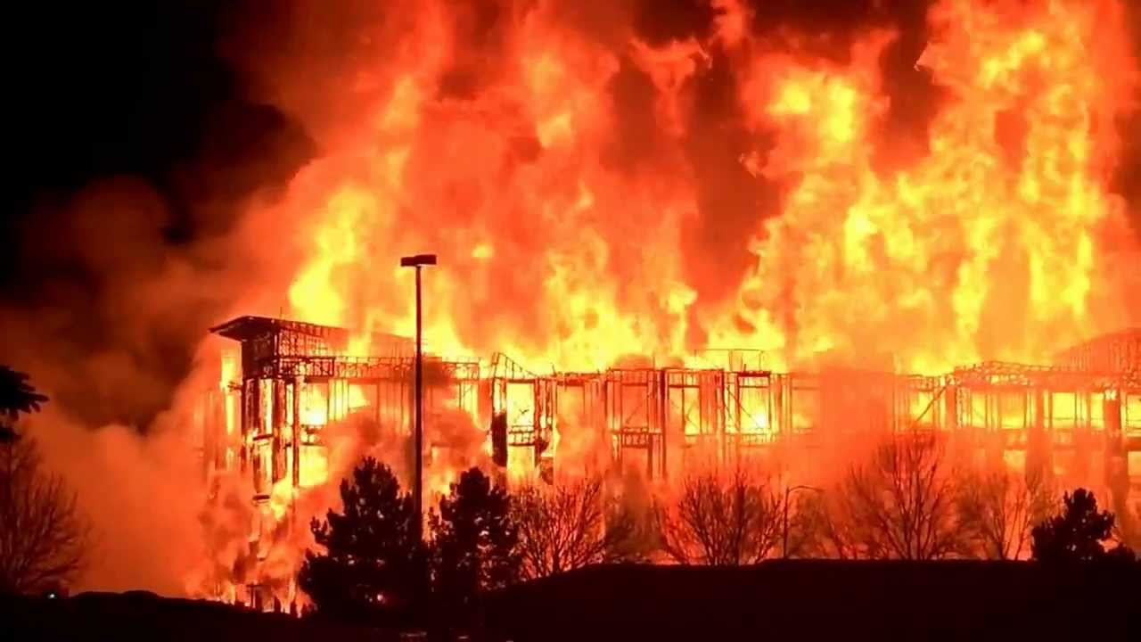 Under Construction Apartment Building On Fire In Cherry