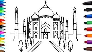 Taj Mahal drawing and colore for Children