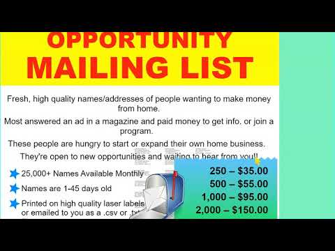 Direct Mail Business Mailing List