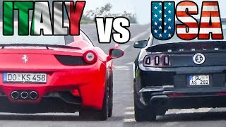 American Cars vs Italian Cars - Exhaust Sound & Accelerations!