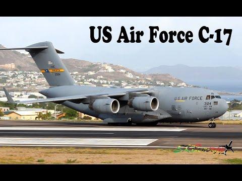 Epic !!! US Air Force C-17 departing St. Kitts Robert L. Bradshaw Int'l Airport