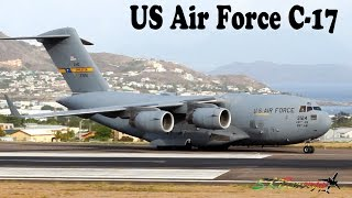 US Air Force C-17 departing St. Kitts Airport, Eastern Caribbean !!!!