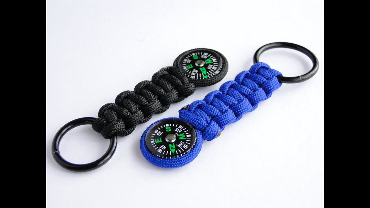 How to make a simple paracord compass keychain cobra weave for How to make a keychain out of paracord