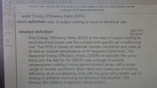 Energy Efficiency Ratio (EER) CA Real Estate License Exam Top Pass Words VocabUBee.com