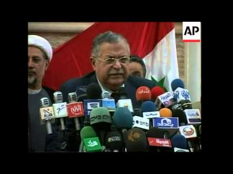 Talabani, Iraqi Dialogue Society react to constitution deal