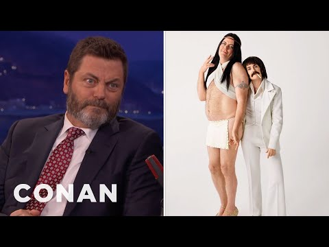 Nick Offerman & Megan Mullally Dressed As Sonny & Cher   CONAN on TBS