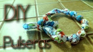 DIY: Pulseras de tela / fabric bracelets ♥ Thumbnail