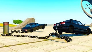 2 CARS 1 POLE! - BeamNG Drive Clotheslining Cars With A Chain!