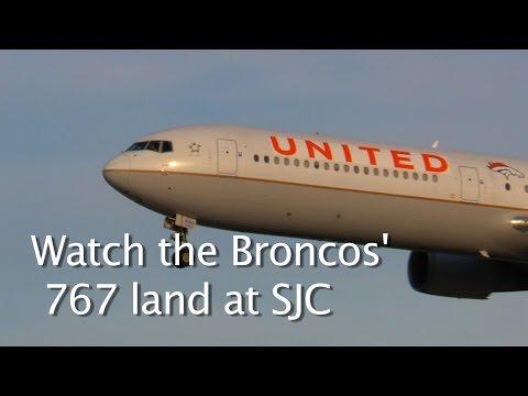 Boeing 767-400 Painted Denver Broncos Orange for Super Bowl 50