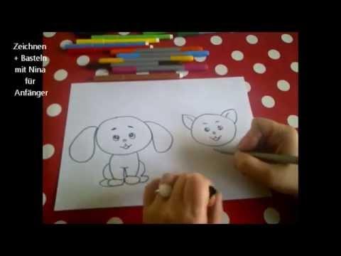 Cartoon Katze und Hund zeichnen.  Für Anfänger und Kinder. Einfach