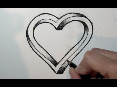 Wie zeichnet man ein 3d Herz mit bleistift- Online Zeichnen Lernen ...